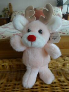 """VINTAGE RUSS BERRIE LULLABY PINK REINDEER RATTLE WITH TAGS 10"""" TALL"""