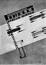 PUBBLICITA' 1936 PIRELLI AUTO CORSA GARA  VELOCITA' SECONDO FUTURISMO W.ROSSI