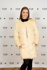 Collarless cream faux fur coat size 12 Asos