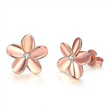 Fashion Women's Rose Gold Plated Crystal Small Flower Ear Stud Earrings Solid AU