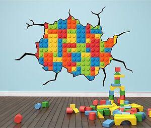 Colourful Bricks Cracked Wall Effect Wall Art Sticker Decal Print Transfer P5H
