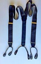 Pelican USA Black & Brown Silk Suspenders Braces Goldtone Metal Leather Tabs