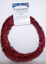 """Red Wired Tinsel Garland 3/4"""" x 5 Yards Floral, Holiday Decor, Wedding"""