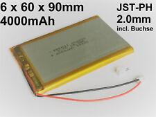 Lithium Polymer LiPo Batterie Akku 4000mAh 3.7 V 1S PCB Tablet JST PH 2.0 mm 3