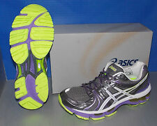 WOMENS ASICS GEL - KAYANO 18 TITANIUM / WHITE / NEON PURPLE SIZE 6
