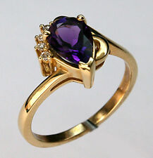 Pear Amethyst Ring with Dia in 14kt Yellow Gold