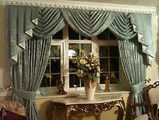 DESIGNER CURTAINS SWAGS & TAILS  DUCKEGG/IVORY