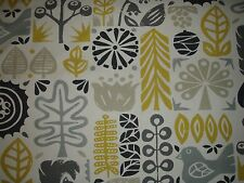 "SCION/HARLEQUIN CURTAIN FABRIC DESIGN ""woodland"" 3 METRES CHALK/LEMON/CHARCOAL"