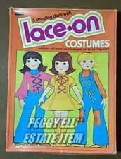 """1975 RAND McNALLY """"3 STANDING DOLLS w/LACE-ON COSTUMES"""" #09038  PAPER DOLL SET"""