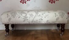 A Quality Long Footstool In Laura Ashley Summer Palace Dove Grey Fabric