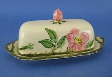 Franciscan Desert Rose Quarter Pound Covered Butter Dish USA Flowers Vine AS IS