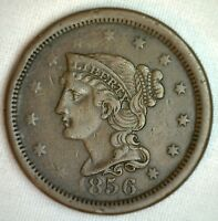 1856 Braided Hair Large Cent Copper Extra Fine Genuine 1c Penny US Coin M14 XF