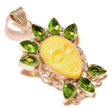 Carved Bone Face with Green Amethyst 925 silver overlay Handmade Charm Pendant