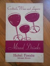 Old Vintage 1942 Souvenir Menu Hotel Foeste Sheboygan Wisconsin Bar Cocktails