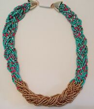 Multi Colored Braided Seed Beaded Choker Necklace 20 inches