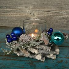 Holzkranz blau Deko Windlicht Advent Adventskranz Weihnachten Holz Tischdeko NEU