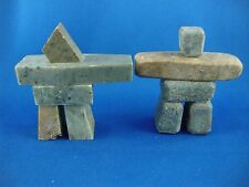 """TWO PIECES 3"""" INUKSHUK CARVING SOAPSTONE INUIT AND ESKIMO TAG"""