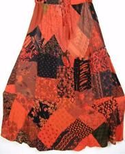 911SK~TIENDA HO~Red Orange~A-Line Skirt~Hippy Rayon~Mixed Patchwork~BOHO~OS~XL?
