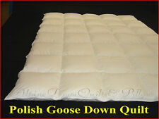 POLISH GOOSE DOWN DOUBLE BED SIZE QUILT DUVET 4 BLANKET WARMTH 100% COTTON COVER