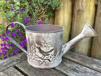 Small Decorative Metal Watering Can Garden Bird Planter Shabby Grey Vintage Pot
