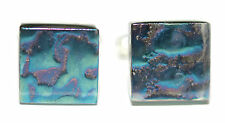 BEAUTIFUL PATTERNED BLUE IRIDESCENT SQUARE GLASS CUFF LINKS (004a)