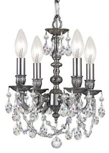 Crystorama 5504-PW-CL-MWP Pewter Mini Crystal Chandelier Gramercy Collection
