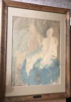 Unique Mid-Century Expressionist Figural Watercolor in Antique SS Majestic Frame