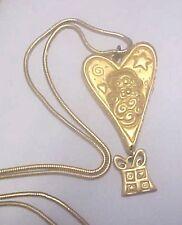 "Signed SOHO Gold Tone Santa Claus Heart Christmas 1995 Pendant Necklace 33"""