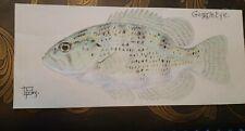 LEON PRAY Signed ORIGINAL Goggle Eye Color Fish Drawing