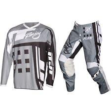 JT Racing Flexible Exbox Motocross MX Juego de Pantalones y Jersey - Gris/Negro