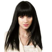 Real Human Hair! Charming Silky Straight Neat Bang Women Wig Heat Safe Party