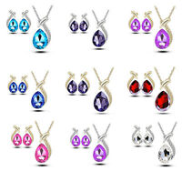 925 Silver Crystal Rhinestone Pendant Necklace Earring Wedding Party Jewelry Set