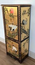 Oriental Chinese Gold Leaf Jewellery Armoire Cabinet with Painted Cranes