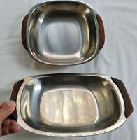 2 Vintage Mid Century Scandinavian Stainless Steel & Teak Serving Trays Denmark
