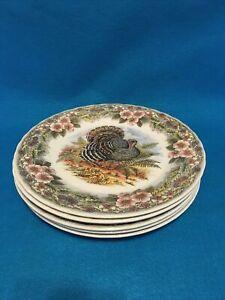 "Five Myott Factory Queen Thanksgiving Turkey Archive Dinner Plate 10"""