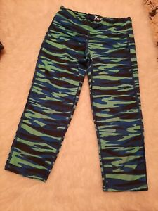OLD NAVY ACTIVE Go-Dry cosmos blue /green Capri Workout Leggings Size Large 1012