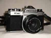 Asahi Pentax K1000 35mm SLR Film Camera Kit SMC A 50mm f/2 Lens New Light Seals