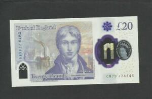 SARAH JOHN £20   774444   INTERESTING NUMBER     BANK OF ENGLAND  POLYMER