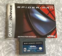 Spider-Man Nintendo Gameboy Advance w/ Manual Cleaned & TESTED GBA Spiderman