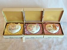 3 Vtg Noritake Valentines Day Hearts 1980 Kittens 1981 Swans 1982 Bunny W/Boxes