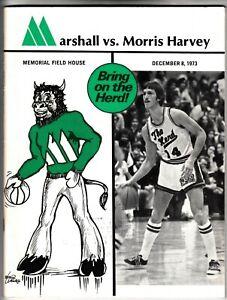 MARSHALL vs MORRIS HARVEY December 8 1973 Vintage Basketball Program Herd