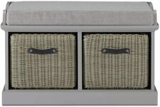 Tetbury Storage Bench with 2 Baskets with Leather Handles and Grey, Cushion Seat