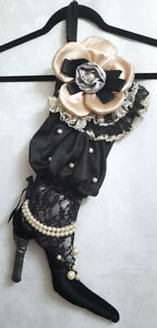 Gothic Steampunk LACE BOOT CHRISTMAS STOCKING Black Satin Pearls Gift Bag Decor