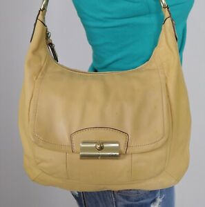 COACH Kristin Medium Yellow Leather Shoulder Hobo Tote Satchel Purse Bag