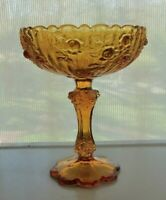 Fenton Glass Amber Cabbage Rose Comport Compote Footed Bowl