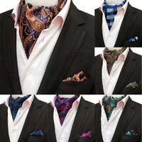 New Men's Handkerchief Silk Set Cravat Ascot Paisley Floral Ascot Tie Woven Ties