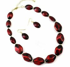 COWGIRL Metallic Brushed Deep Burgundy Beads Necklace & Earring Set