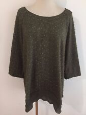 Ulla Popken Knit Tunic Top Sweater Olive w/Silver Shimmer Size 16/18
