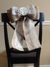 Burlap and Lace Flower Pew Bow Vintage Chic Wedding Rustic Reception Wreath