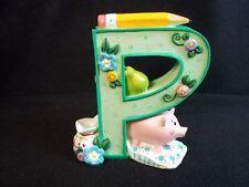 Mary Engelbreit resin Letter P pig pitcher pillow pencil flowers green 1999